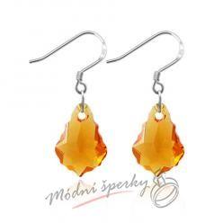 Náušnice Shape stone orange s krystaly Swarovski Elements