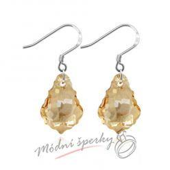 Náušnice Shape stone gold s krystaly Swarovski Elements