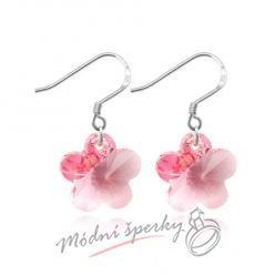Náušnice Flower stone pink s krystaly Swarovski Elements