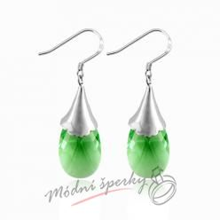 Náušnice Tear stone green s krystaly Swarovski Elements