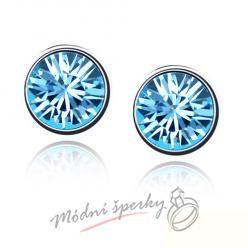 Náušnice Dots aquamarine s krystaly Swarovski Elements