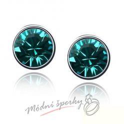 Náušnice Dots dark green s krystaly Swarovski Elements