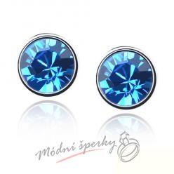 Náušnice Dots sapphire s krystaly Swarovski Elements