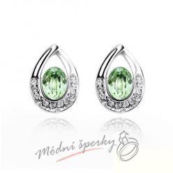 Náušnice Tear shape green s krystaly Swarovski Elements