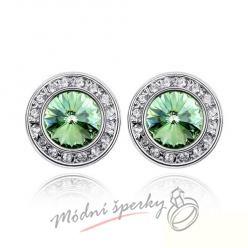 Náušnice Round green s krystaly Swarovski Elements