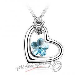 Srdíčko s modrou květinkou - krystal Swarovski elements
