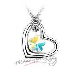 Srdíčko s barevou květinkou - krystal Swarovski elements