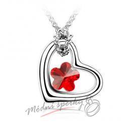 Srdíčko s červenou květinkou - krystal Swarovski elements