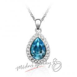 Modrá slza s krystaly Swarovski elements
