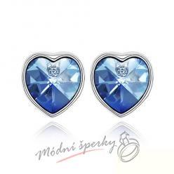 Náušnice Pearl heart sapphire s krystaly Swarovski Elements
