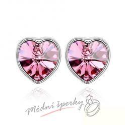 Náušnice Pearl heart rose s krystaly Swarovski Elements