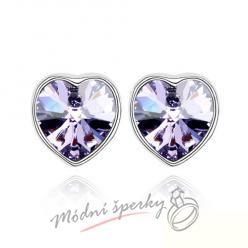 Náušnice Pearl heart tanzanite s krystaly Swarovski Elements