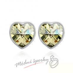 Náušnice Pearl heart yellow s krystaly Swarovski Elements