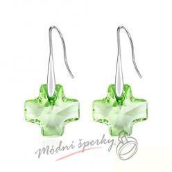 Náušnice Křížek zelený s krystaly Swarovski Elements