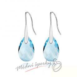 Náušnice Long tear modré s krystaly Swarovski Elements
