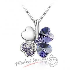 Sweet Four-leaf tanzanite s krystaly SWAROVSKI ELEMENTS