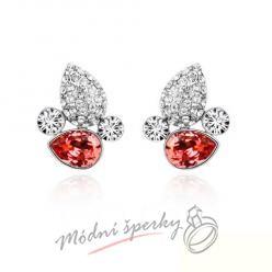Náušnice Leaf stone red s krystaly Swarovski Elements