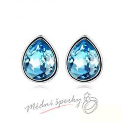 Náušnice Tear dots aquamarine s krystaly Swarovski Elements