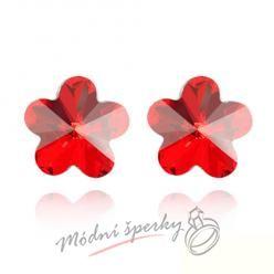 Náušnice Flower stone red s krystaly Swarovski Elements