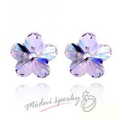Náušnice Flower stone purple s krystaly Swarovski Elements