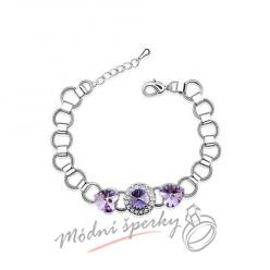 Náramek s krystaly Swarovski Elements Mood light purple heart