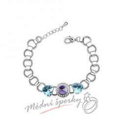 Náramek s krystaly Swarovski Elements Mood aquamarine heart