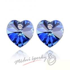 Náušnice Heart stone with crystal Sapphire s krystaly Swarovski Elements