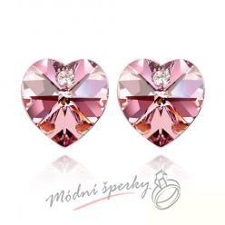 Náušnice Heart stone with crystal pink aquamarine s krystaly Swarovski Elements