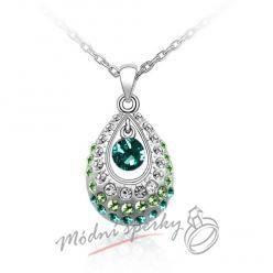 Zelená slza s krystaly swarovski Elements