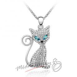 Náhrdelník kočka blue eyes s krystaly SWAROVSKI ELEMENTS