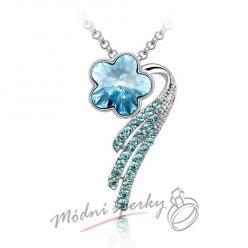 Květinka s modrým krystalem Swarovski elements