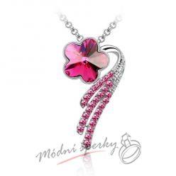 Květinka s růžovým krystalem Swarovski elements