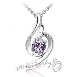 Řetízek s krystaly swarovski elements Purple romance