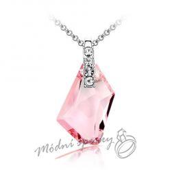 Řetízek Love Promise s krystaly SWAROVSKI ELEMENTS-růžové