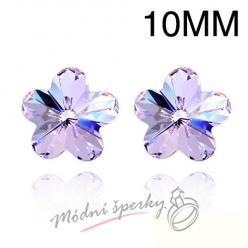 Náušnice Flower stone light purple 10mm s krystaly Swarovski Elements