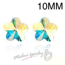 Náušnice Flower stone clear 10mm s krystaly Swarovski Elements