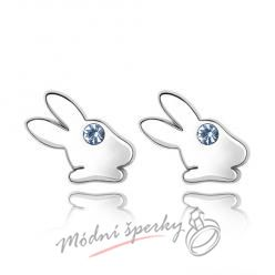 Náušnice Rabbit blue s krystaly Swarovski Elements