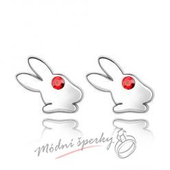Náušnice Rabbit red s krystaly Swarovski Elements