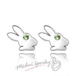 Náušnice Rabbit green s krystaly Swarovski Elements