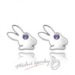Náušnice Rabbit tanzanite s krystaly Swarovski Elements