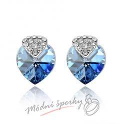 Náušnice Royal heart ocean blue s krystaly Swarovski Elements