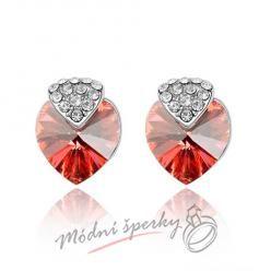 Náušnice Royal heart red s krystaly Swarovski Elements