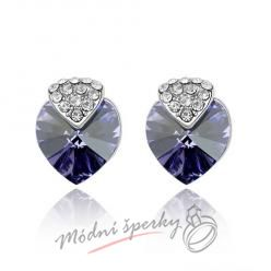 Náušnice Royal heart tanzanite s krystaly Swarovski Elements