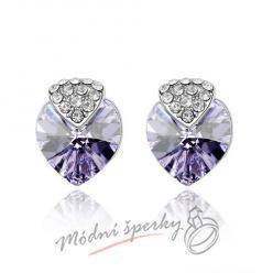 Náušnice Royal heart light purple s krystaly Swarovski Elements
