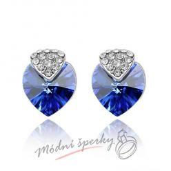 Náušnice Royal heart sapphire s krystaly Swarovski Elements