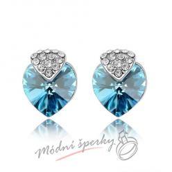 Náušnice Royal heart aquamarine s krystaly Swarovski Elements