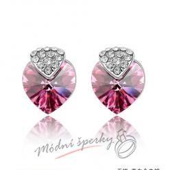 Náušnice Royal heart rose s krystaly Swarovski Elements