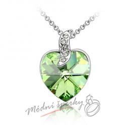 Srdce s krystalem Swarovski Elements zelené