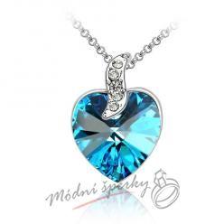 Srdce s krystalem Swarovski Elements modré