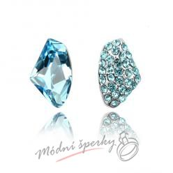 Náušnice Two stones aquamarine s krystaly Swarovski Elements